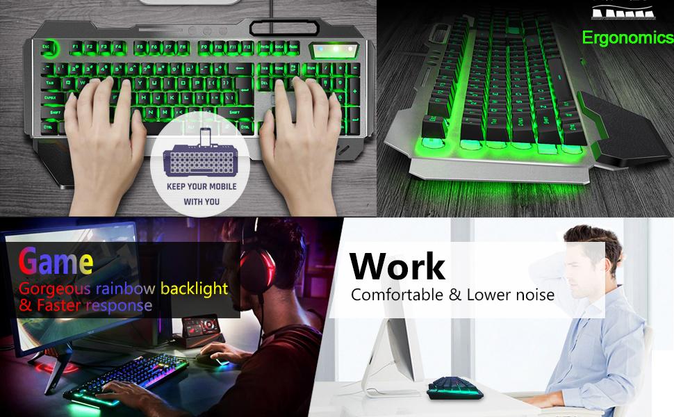 LexonElec Juegos de teclado y mouse para juegos K618 con cable RGB LED retroiluminado 104 teclas Resto de la mano Usb Gamer Teclado Metal + 2400DPI ...