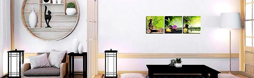 dormitorio hogar piedras y orqu/ídeas spa p/óster listo para colgar pintura enmarcada para sal/ón cocina 3 paneles de bamb/ú verde Zen Decor oficina Lienzo decorativo para pared