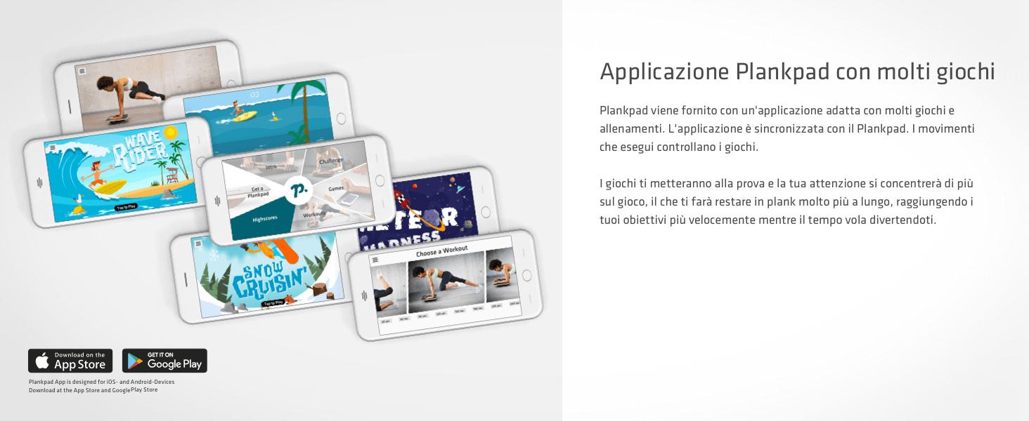 Plankpad con un'app adatta con molti giochi e allenamenti. L'app è sincronizzata con il Plankpad