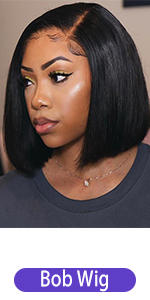 pre plcuked straight bob lace front human hair wigs with byby hair for women