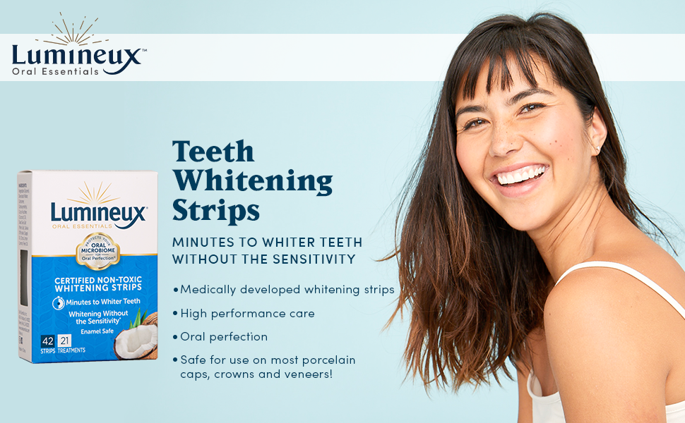 Amazon Com Lumineux Oral Essentials Teeth Whitening Strips 21 Treatments 42 Strips Certified Non Toxic Sensitivity Free Whiter Teeth 7 Days No Artificial Flavors Colors Sls Free Dentist Formulated Health Personal Care