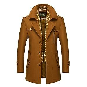 gef/üttert Volwassan Herren Wintermantel l/ässiger Trenchcoat gesteppt warme Wolljacke mit abnehmbarer Weste