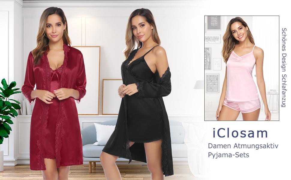 Nachtwäsche Damen Schlafanzug Kurz Pyjama Shorty Satin Sleepwear Sets Zweiteilige