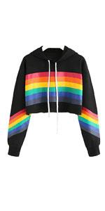 Crop Tops Hoodie Rainbow