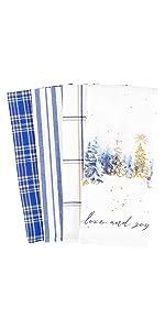 Patina Vie Love Joy Blue White Hanukkah Linen Towels Dish