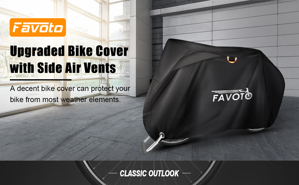 Favoto Bike Cover with Side Air Vents Waterproof Oxford Fabric Outdoor Fits 26 27 28 29 inch Bicycles Windproof Rain Snow Dust with Night Reflector Lock Hole for City Beach Cruiser Mountain Road Bike