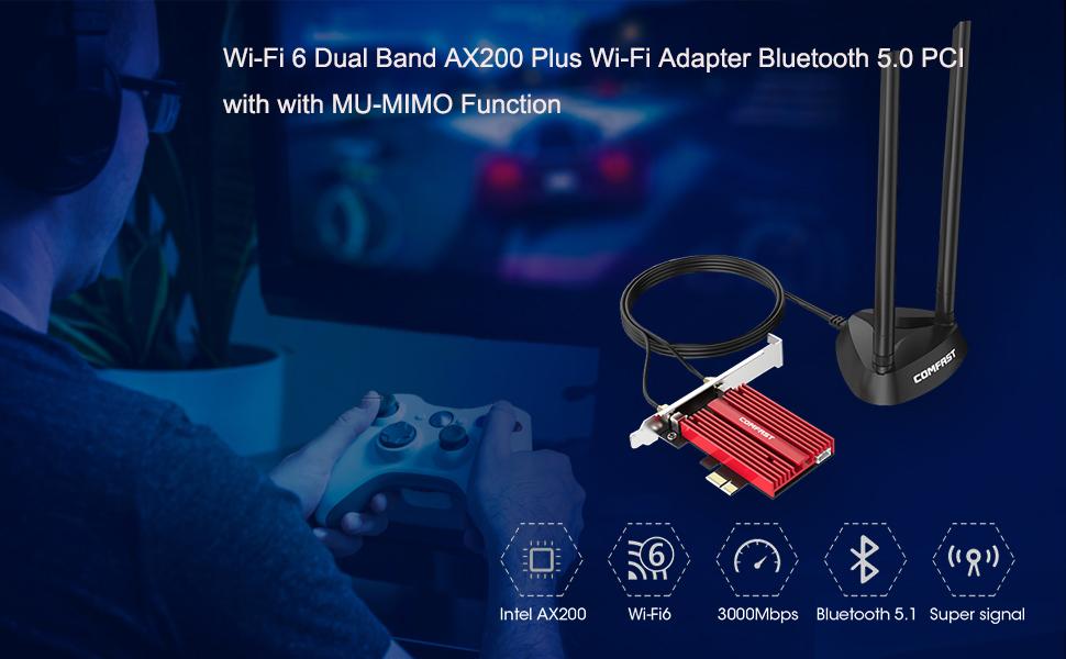 Adaptador AX200 Plus de Doble Banda Wi-Fi 6, Tarjeta de Red inalámbrica PCI-E con función MU-MIMO, Adaptador TX3000E AX3000 Bluetooth 5.0 PCI Express ...