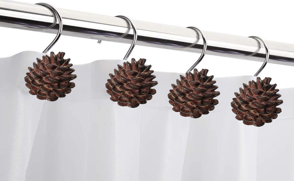 12 Pinecone Shower Curtain Hooks Rings