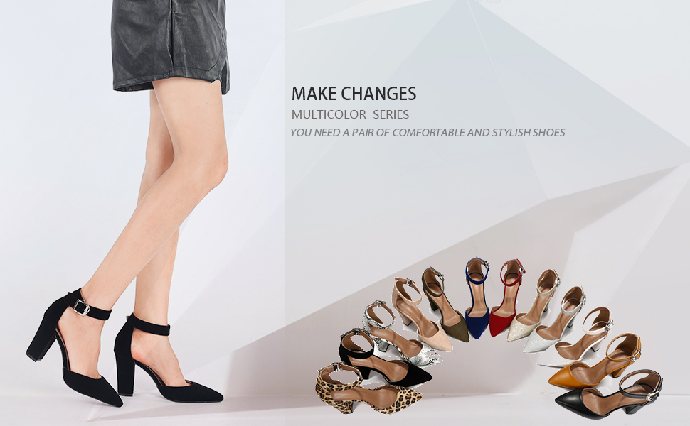 Ankle Strap Pointed-Toe Chunky Block