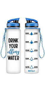 Drink Your Effing Water Hour Water Bottle Tracker