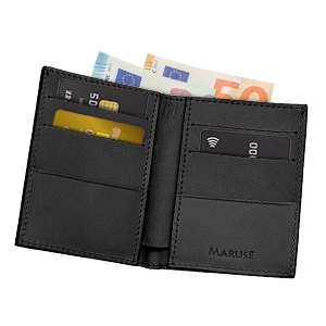 Featuring a bill pocket and 3 credit card slots per side