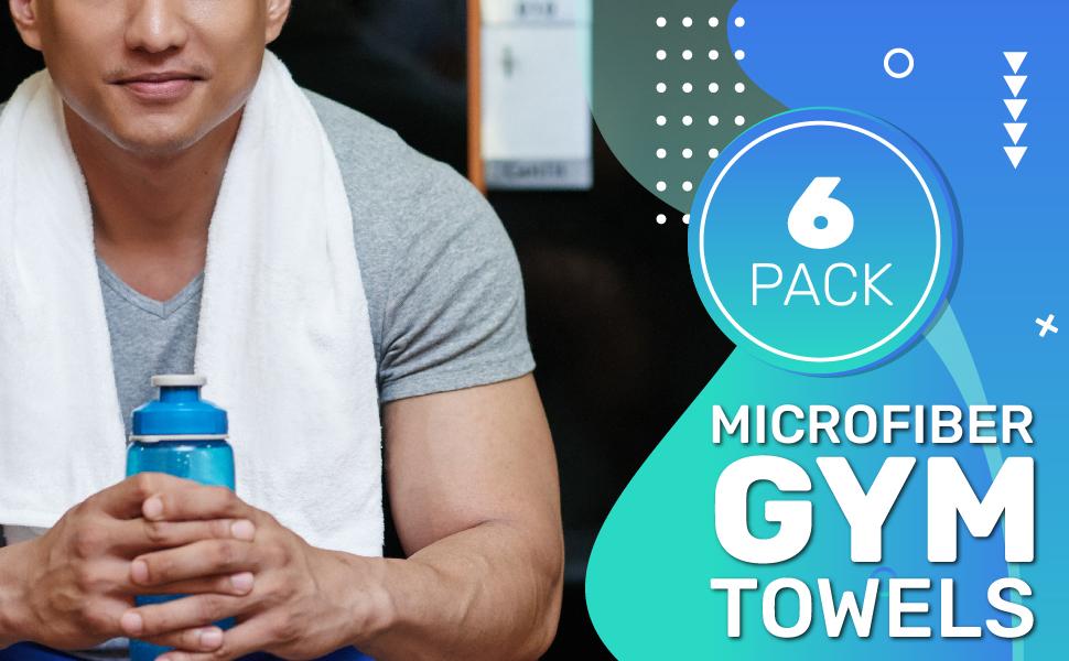 Microfiber gym towels pack of 6