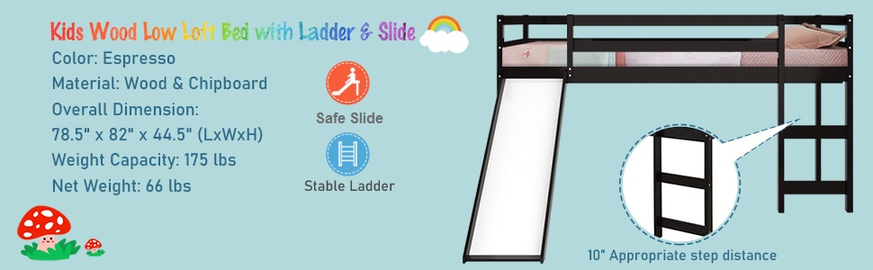 solid wood loft bed with ladder and slide