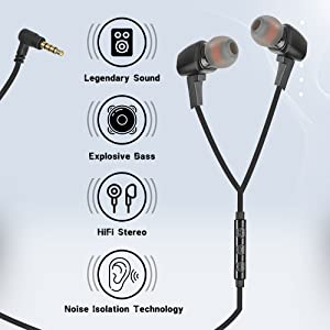 Macjack Wired Earphone Mic Volume Noise Cancellation Dynamic HD Sound Metal Magnetic Earbuds Blue