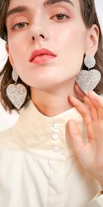 Round Crystal Love Heart Silver Tone Drop Dangle Statement Earrings