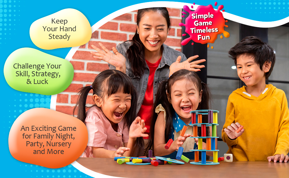 Tumble Tower Blocks Game Giant Toppling Tower Wood Stacking Game  for Adult Kids Family