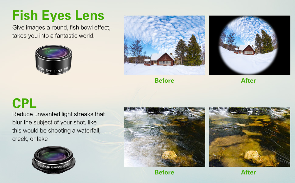 Clip-On Cell Phone Camera Lenses Compatible with iPhone,Android,Samsung Mobile Phones and Tablets
