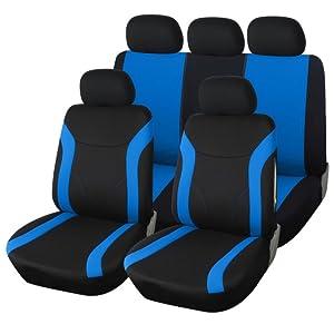 Noir-Bleu Velour Sitzbezüge pour MERCEDES-BENZ CLASSE E Siège-auto référence sur le devant
