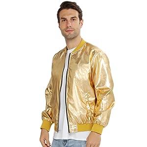WULFUL Men Metallic Party Nightclub Jackets Halloween Zip Up Baseball Bomber Jacket