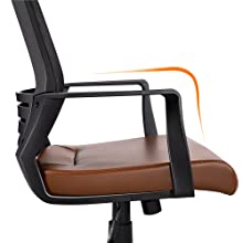 9  YAHEETECH Ergonomic Mesh Office Chair with Leather Seat, High Back Task Chair with Headrest, Rolling Caster for Meeting Room, Home Brown 4205ece5 e5a7 419e b0af 1b24f47ec77f