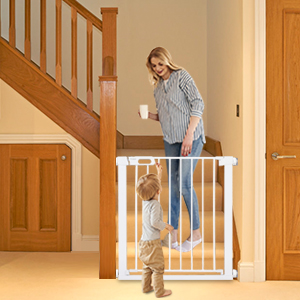 Child Safety Gates 75 to 96 cm Adjustable Stair Gates with 14 cm Extension Easy to Install Pet Door Gates Baby Safety Gates