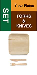 "7"" Square Plates Forks Knives"