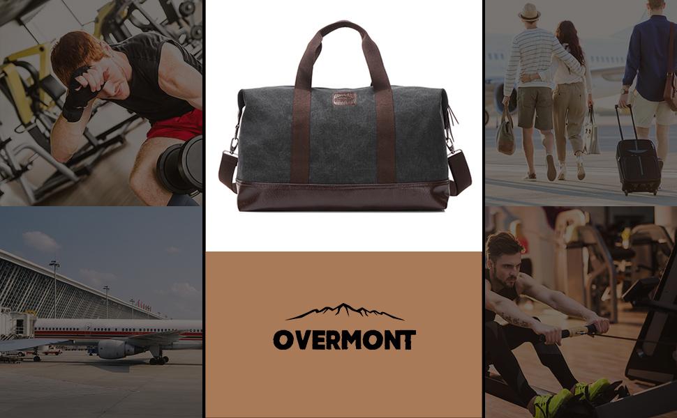 Overmont Bolsa de Viaje Vintage Bolsa de Hombro Maletín de Cuero ...