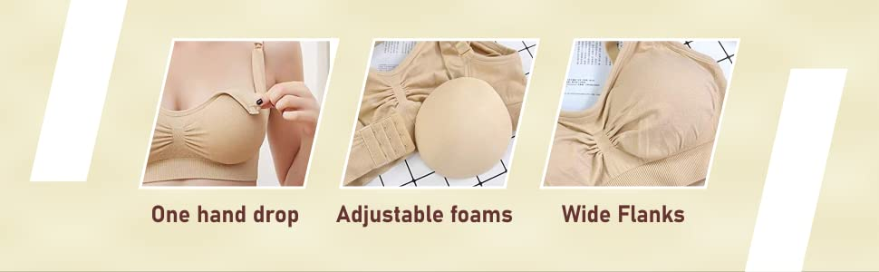 AHC Light Weight Breastfeeding Maternity Nursing Bra for Women with Washable Nursing Breast Pads