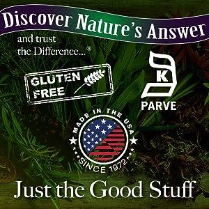Gluten Free, Made in the USA, Kosher, Animal Cruelty Free,