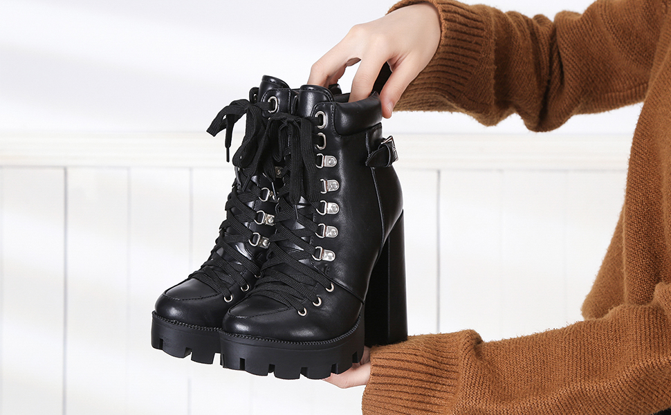 SamojoyBlvd Platform Combat Boots for Women Chunky High Top Sneaker Canvas Lace Up Outdoor Hiking Climbing Booties Shoes