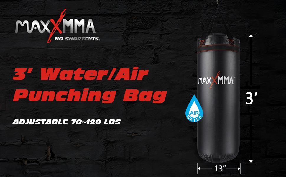 Water//Air Heavy Bag MaxxMMA 3 ft Adjustable 70~120 lbs.