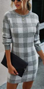 Crewneck Plaid Sweater Dress