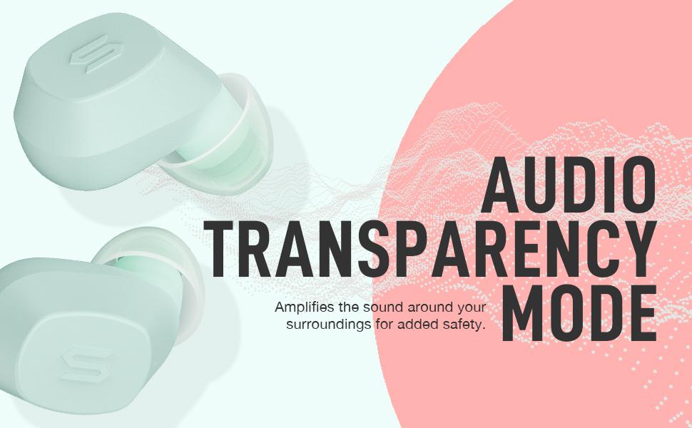 s-nano soul headphone earbud earphone waterproof portable bluetooth transparency mode pink battery