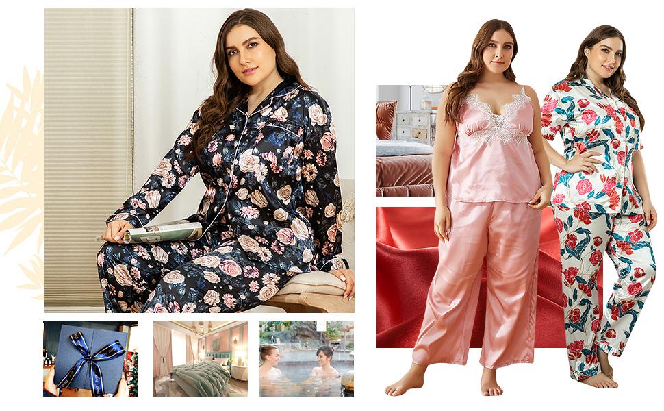 YAOMEI Pijamas Camisón para Mujer, 2 Pcs Mujer Largo ...