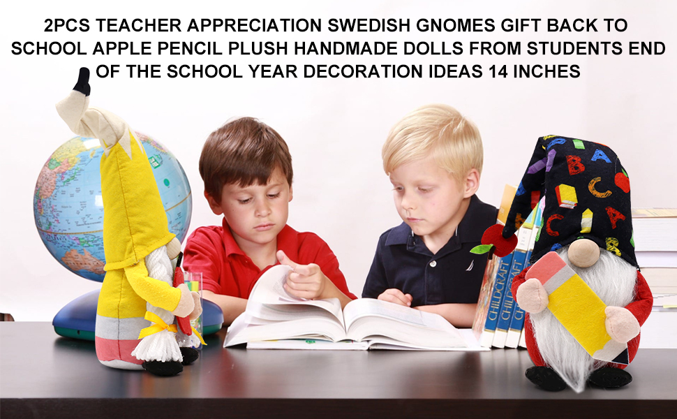 CiyvoLyeen Set of 2 Teacher Appreciation Swedish Gnomes Gift Back to School Apple Pencil Plush Handmade Dolls from Students End of The School Year Decoration Ideas 14 Inches