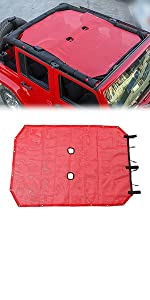 Sunshade for 2007-2018 Jeep Wrangler JK or JKU 4 Door Plain Red