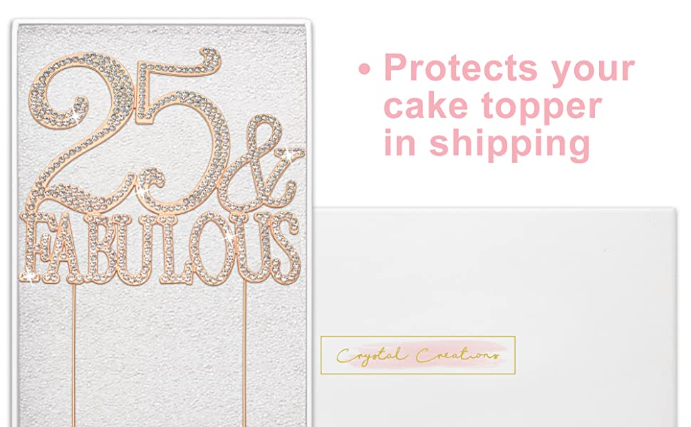 25 and fabulous cake topper 25th birthday cake topper rose gold rhinestone cake topper decorations