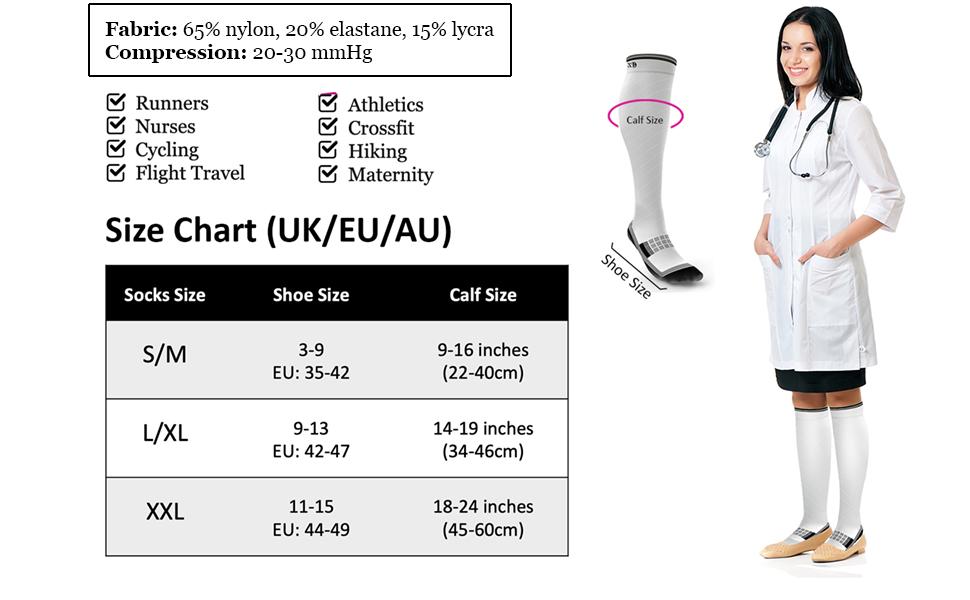 DVT Pressure Support Shin Splint Calf Compression Socks