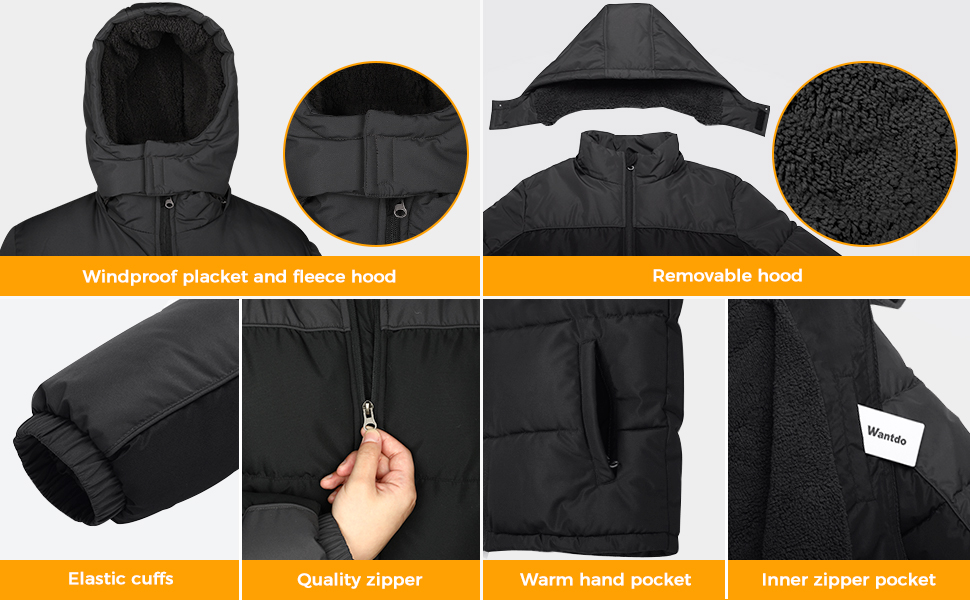 Wantdo Mens Fleece Winter Jacket