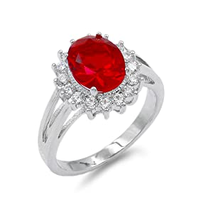Lavencious Oval Shaped w.CZ  Party Rings in Red
