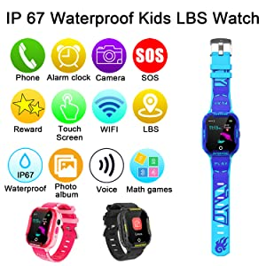 Students Waterproof 2 Way Calls WiFi GPS Locator SOS Voice Chat Camera Alarm Clock Birthday Gifts