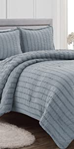 Scarlet 3-Piece Comforter Set, Dusty Blue
