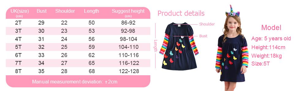 long sleeve girls dress rainbow winter butterfly flower dress navy blue pocket jersey t-shirt cloth
