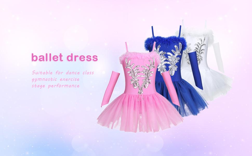 dPois Womens Swan Lake Ballet Dance Leotard Sequined 3D Flower Beads Tutu Dress Dancewear