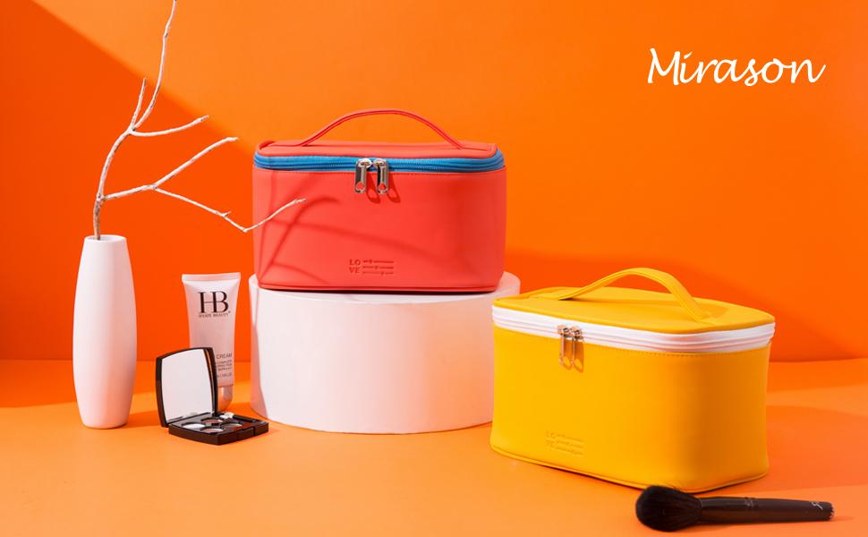 1MIRASON Cosmetic Bag Set of 3 Makeup Bag for Purse Pouch Travel Beauty Organizer Bag Girl Women,