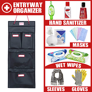 door hanging organizer reminds you to take hand sanitizer, wet wipes, masks when you go outside