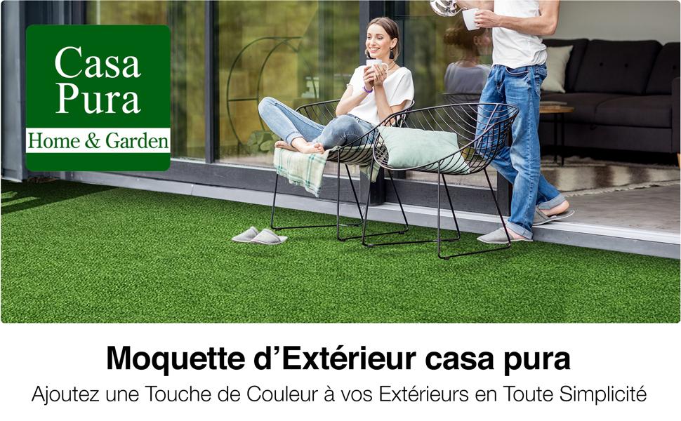 Nombreuses Couleurs au Choix terrasse Jardin etc Moquette ext/érieure casa pura Tapis Gazon Artificiel au m/ètre Balcon | Gris 500x133cm
