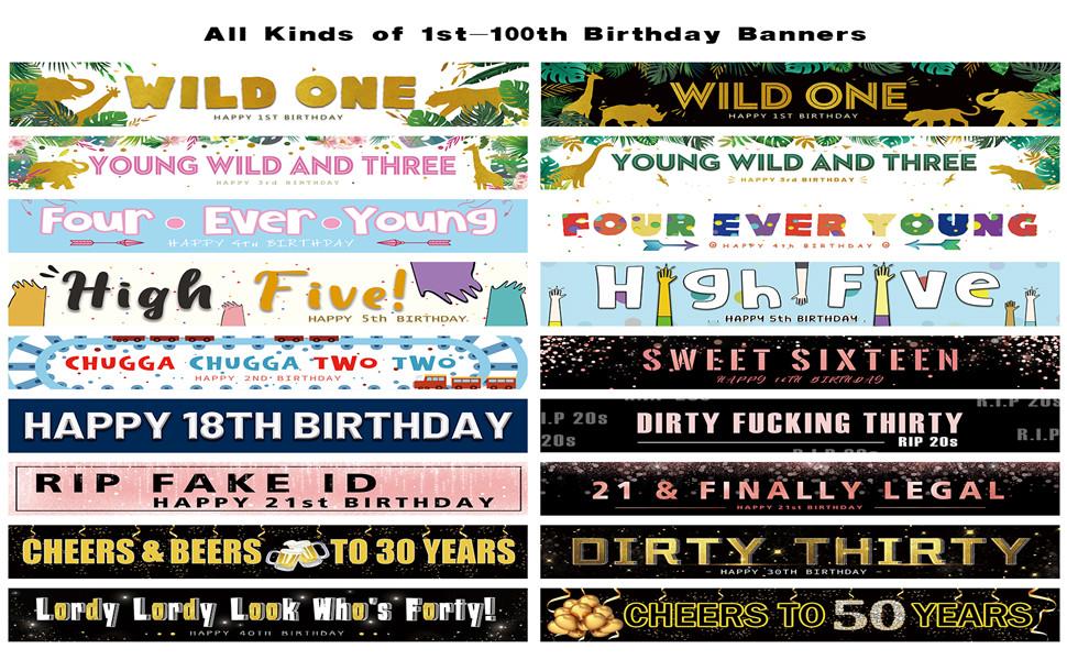 1-100 Birthday Banners
