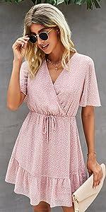 Women Summer Short Sleeve Ruffle Floral Dress Sexy V Neck High Waist Layer Short Mini Dress