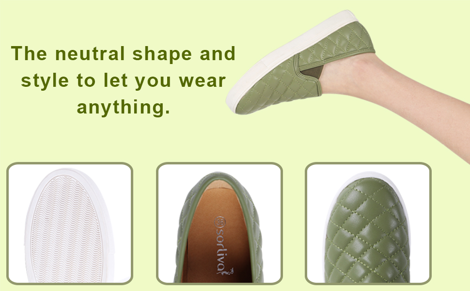 sorliva Low Top Slip On Sneakers for Women,Fashion Loafers Round-Toe Comfort Memory Form Casual Walking Flats Shoes